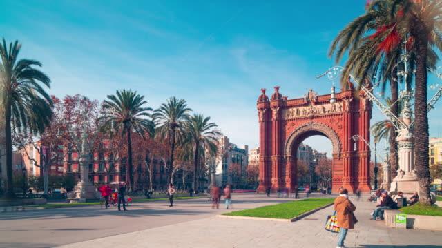 Barcelone lumière arc de Triomf Panorama 4 k effet time-lapse Espagne - Vidéo