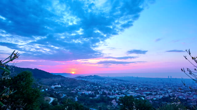 Barcelona sunrise from Collserola mountains video