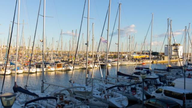 barcelona yacht dock sun light 4k time lapse spain video