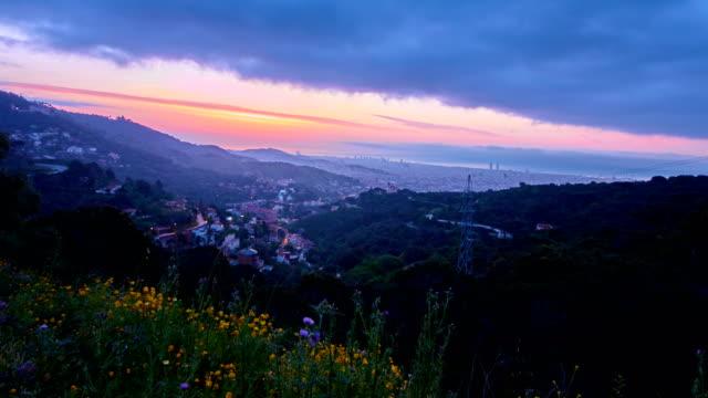 Barcelona's sunrise a cloudy day video