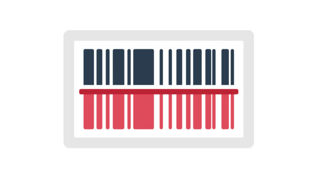 Barcode Glitch Effect Icon Animation with Alpha