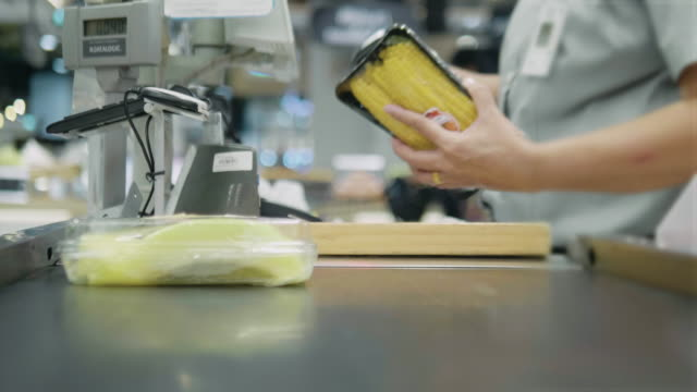Barcode scanner at shopping cash register