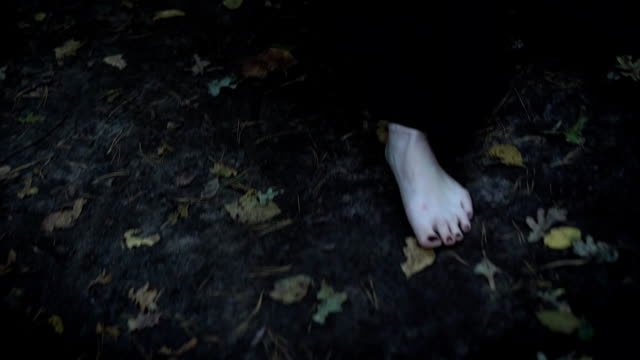 vídeos de stock e filmes b-roll de bare pale feet of woman is wearing long black coat, walking in forest in autumn over wet earth and fallen leaves - feet hand