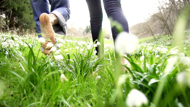 HD STEADY: Barefoot Walk Through The Grass video