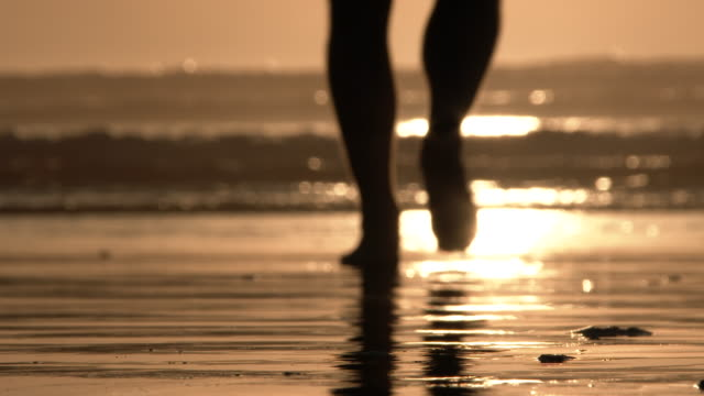 barefooted on sunny and sandy beach - dito del piede video stock e b–roll