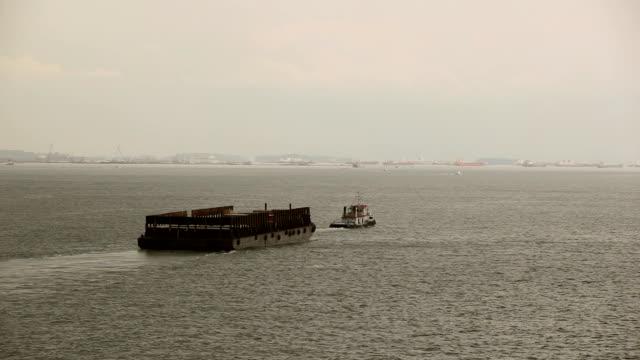 Barge at sea. video