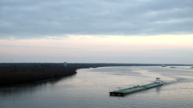 Barge sailing down the Mississippi river video