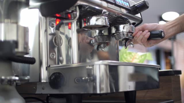 Barista Making A Espresso Shot, Espresso Machine
