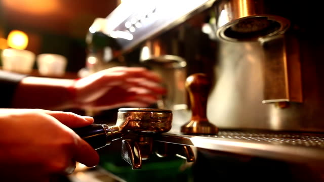 Barista preparing an espresso coffee video