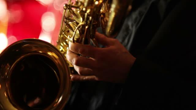 Baritone saxophone closeup video