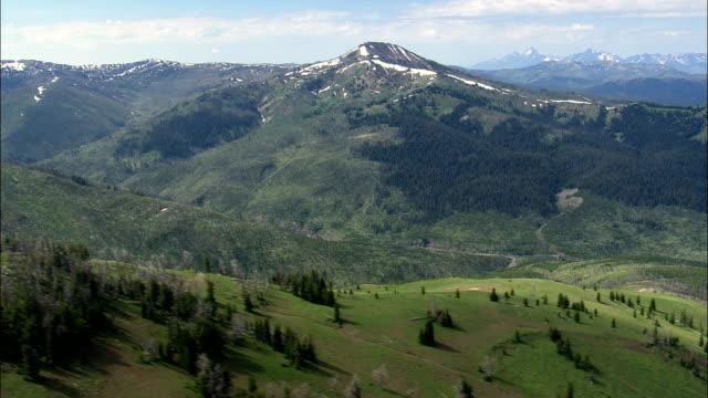 Barlow Peak And Big Game Ridge  - Aerial View - Wyoming,  Teton County,  helicopter filming,  aerial video,  cineflex,  establishing shot,  United States video