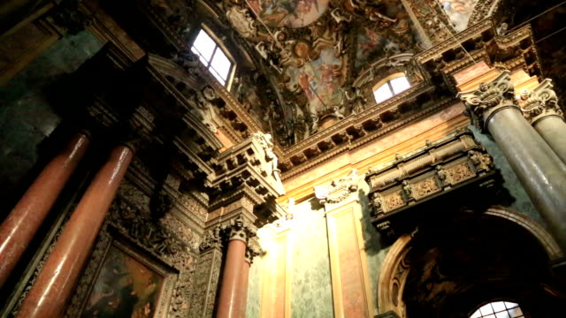 Baroque church of San Giuseppe dei Teatini Interior view of the Baroque church of San Giuseppe dei Teatini  Church Palermo Sicily July 2015 mosaic stock videos & royalty-free footage