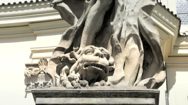 Baroque sandstone statue, Christian holy saint, stone sculpture. video
