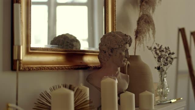 baroque style room - scultura video stock e b–roll