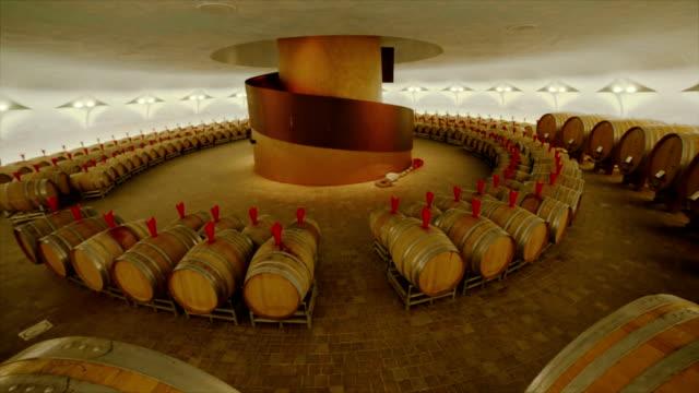 Barrels in a big wine cellar video