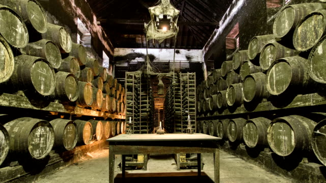 Barrels in the wine cellar with table and candle on it, Portugal timelapse video