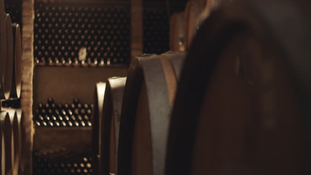 vídeos de stock, filmes e b-roll de tambores na adega de vinho - vinho