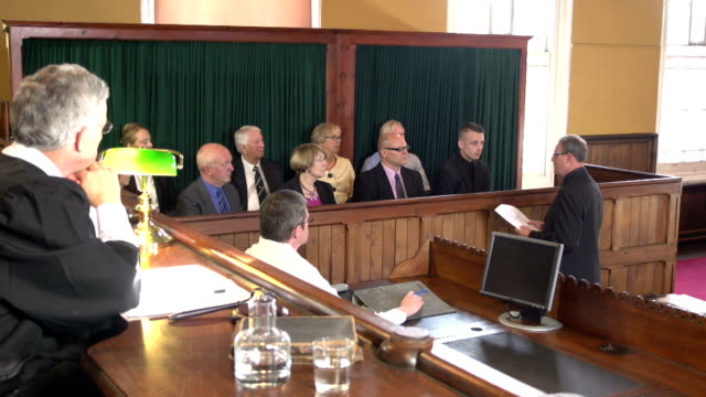 Barrister speaking to the Courtroom Jury - Crane Shot video