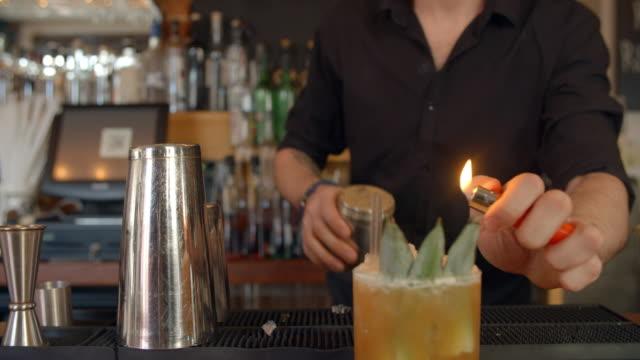 Camarero dando haciendo demostración de cóctel en la barra - vídeo