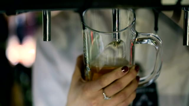 Bartender Pouring Draft Beer in the Pub video