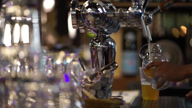 bartendern hälla färskt öl från kranen i bardisk. - pub bildbanksvideor och videomaterial från bakom kulisserna