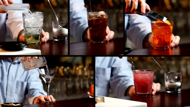 Barkeeper Cocktails zuzubereiten Multiscreen Video verschiedene Getränke – Video