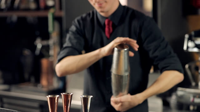 Bartender shaking cocktail in a shaker Bartender holding cocktail shaker sealed and shaking ingredients vigorously bartender stock videos & royalty-free footage