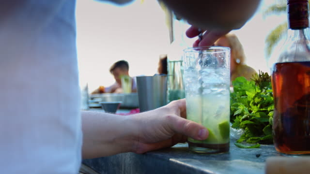 Bartender Stirring Drink at Outdoor Pool Party