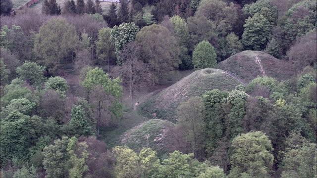 Bartlow Hills Tumuli  - Aerial View - England, Cambridgeshire, South Cambridgeshire District, United Kingdom video