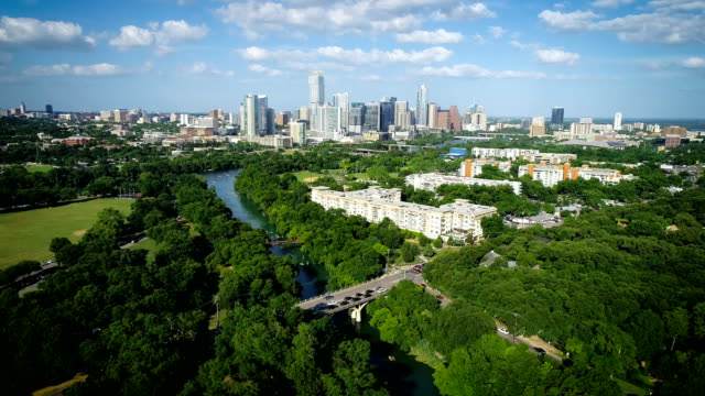 Barton Creek Bridge and green Landscape of Austin Texas 2019 Cityscape Skyline in the background