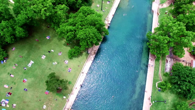 Barton Springs Aerial Shot of Texas Hill Country Paradise 4K video