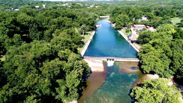Barton Springs Austin Texas USA gimbal down looking at Barton Creek an Austin Attraction video