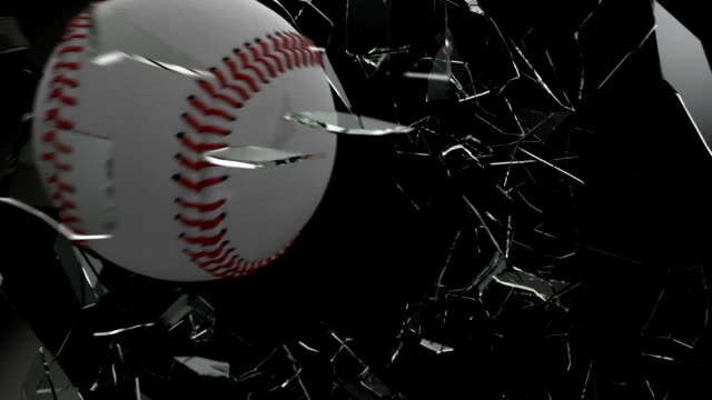 baseball ball shattering glass with alpha channel - baseball stock videos and b-roll footage