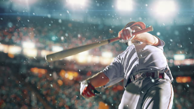 Baseball batter hitting ball during game video