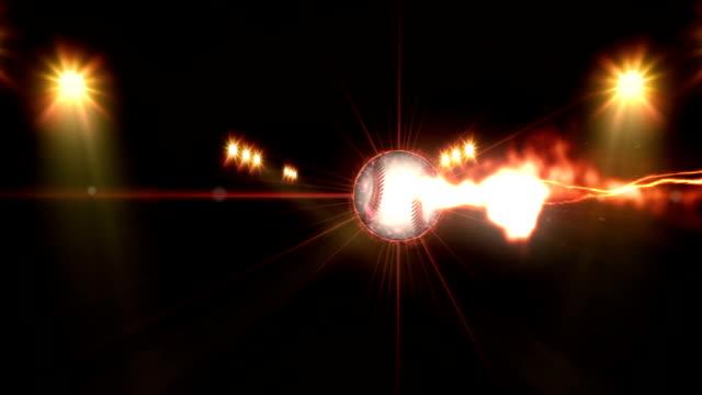 野球、夜のシーンで、照明の明るい青の色のスポット ライト - 野球点の映像素材/bロール