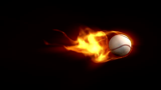 Baseball on fire animation with Alpha (HD) video