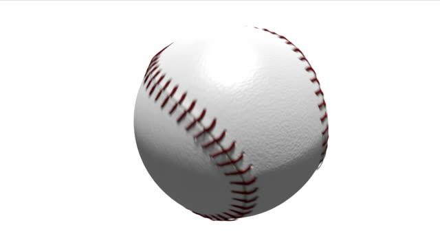Baseball rotating on white background video