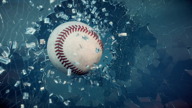 Baseball through broken glass. video