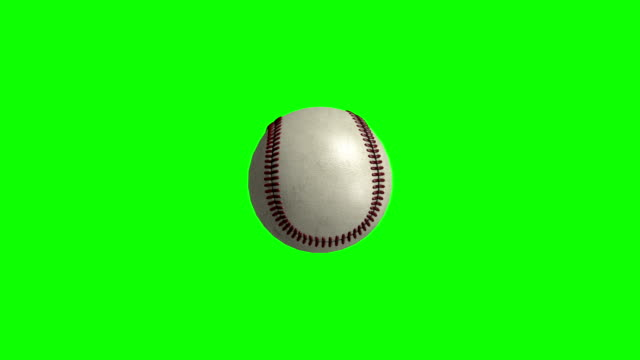 Baseball totating on green screen video
