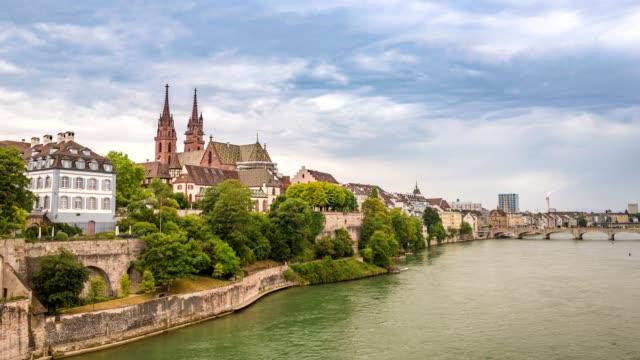 Basel city skyline timelapse and Rhine River, Basel, Switzerland, 4K Time lapse video