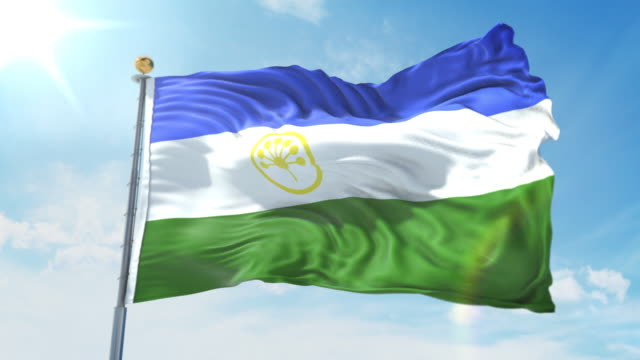 Bashkortostan flag waving in the wind against deep blue sky. National theme, international concept. 3D Render Seamless Loop 4K Bashkortostan flag waving in the wind against deep blue sky. National theme, international concept. 3D Render Seamless Loop 4K allegory painting stock videos & royalty-free footage
