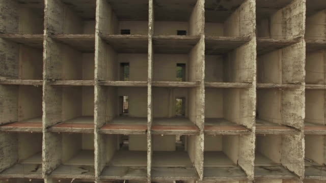 AERIAL VIEW. Basic Structure Of Unfinished Holiday Hotel Building video