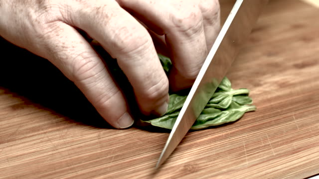 Basil Being Chopped video