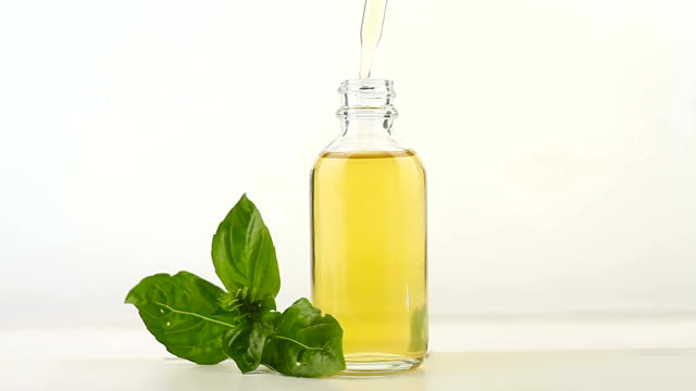 basil essential oil in  beautiful bottle on white background - oli, aromi e spezie video stock e b–roll