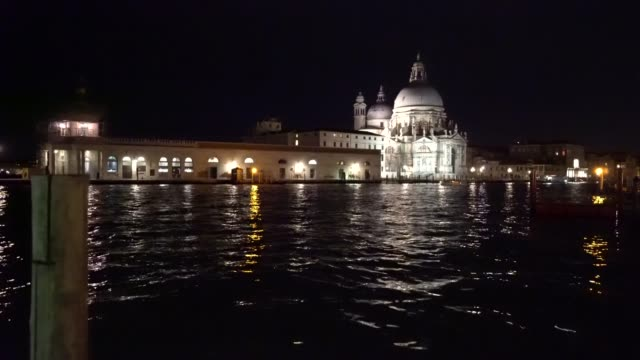Basilica di Santa Maria della Salute and Punta della Dogana at in Venice Italy 4K video