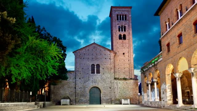 akşam saint francis bazilikası, ravenna - ravenna stok videoları ve detay görüntü çekimi
