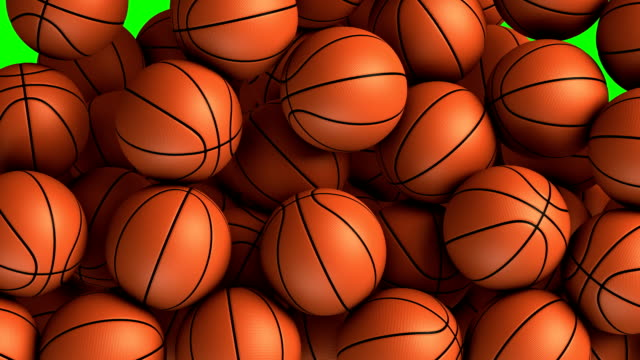 stockvideo's en b-roll-footage met basket balls transition effect - basketbal teamsport