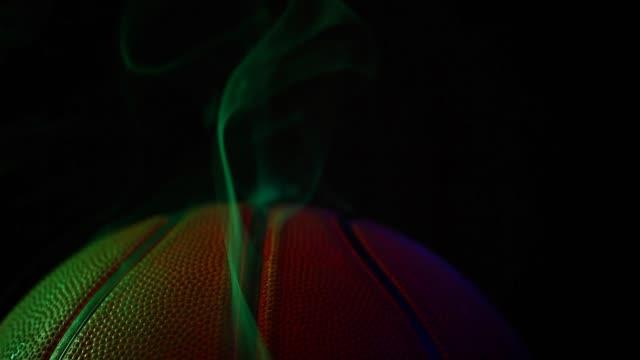 Basketball Ball Smoke Dark Background Nobody Hd Footage