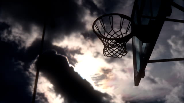 Basketball basket against the sky video