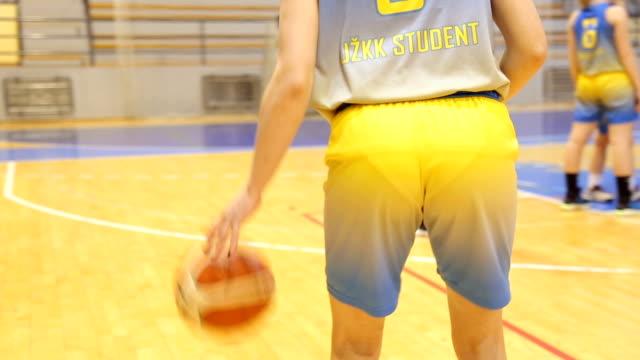 Basketball dribbling on court video